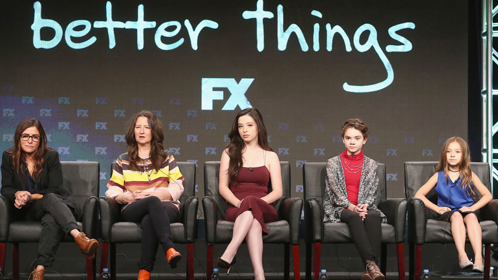 BEVERLY HILLS, CA - AUGUST 09: (L-R) Creator/executive producer/writer/actress Pamela Adlon, executive producer Blair Breard, actors Mikey Madison, Hannah Alligood and Olivia Edward speak onstage at 'Better Things' panel discussion during the FX portion of the 2016 Television Critics Association Summer Tour at The Beverly Hilton Hotel on August 9, 2016 in Beverly Hills, California. (Photo by Frederick M. Brown/Getty Images)